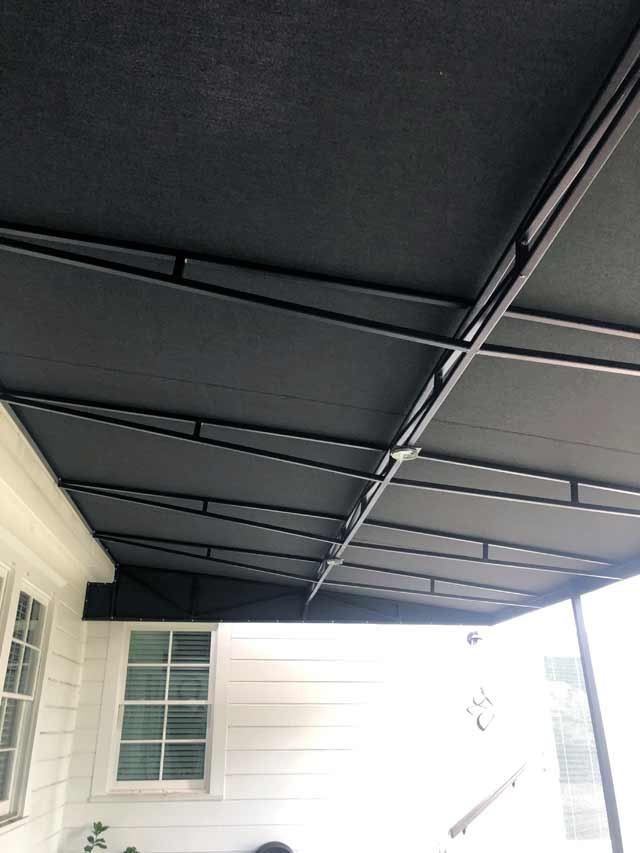 Fabric and Metal Awning detail