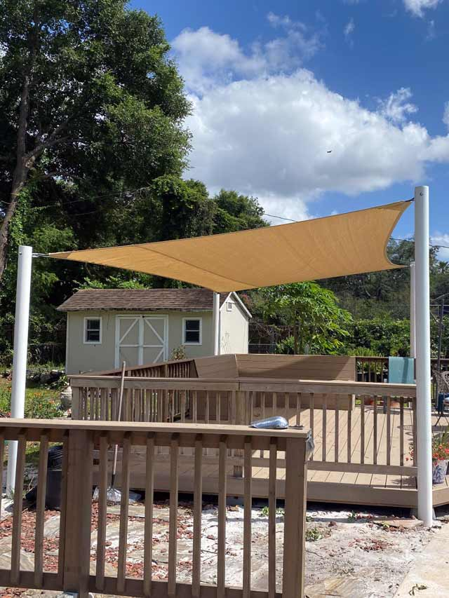 Floating Patio Sun Shade Tension Structure